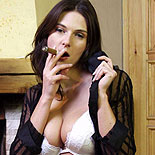 Cigar lover  horny alexandra blowjob a cigar and reveals her lucsious breasts. Libidinous Alexandra blow a cigar and reveals her lucsious boobs